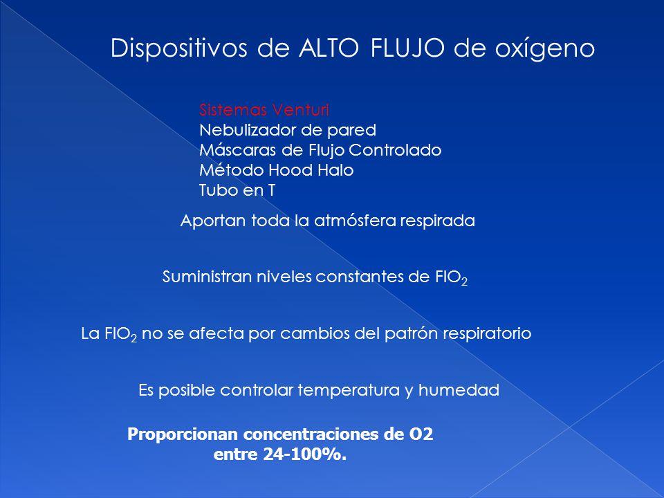 Proporcionan concentraciones de O2 entre 24-100%.