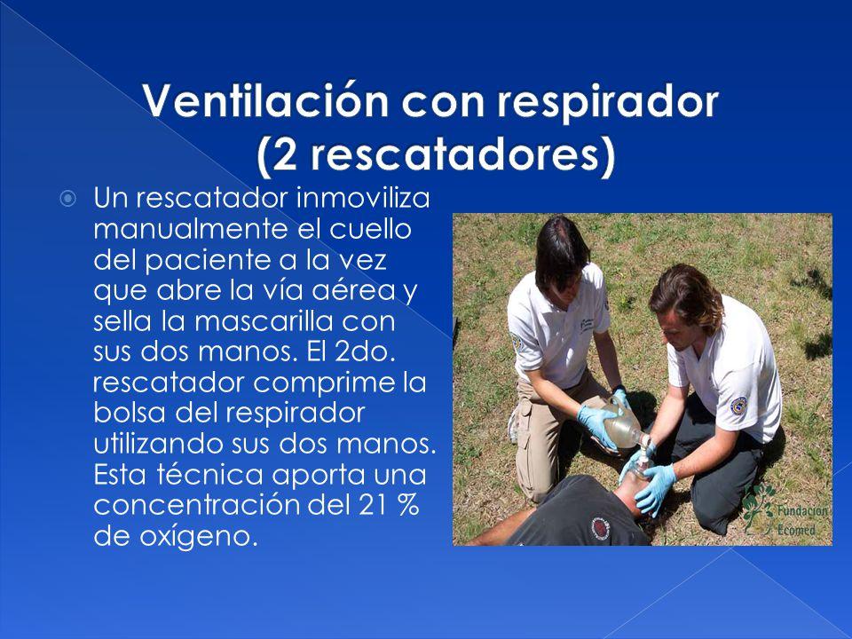 Ventilación con respirador (2 rescatadores)
