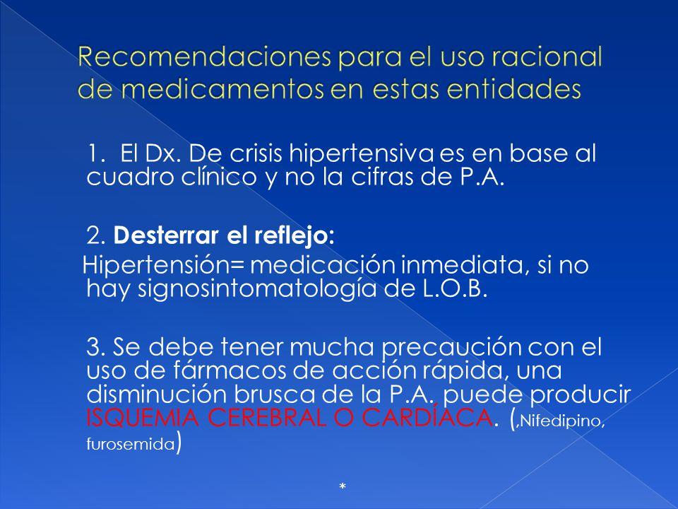 Recomendaciones para el uso racional de medicamentos en estas entidades