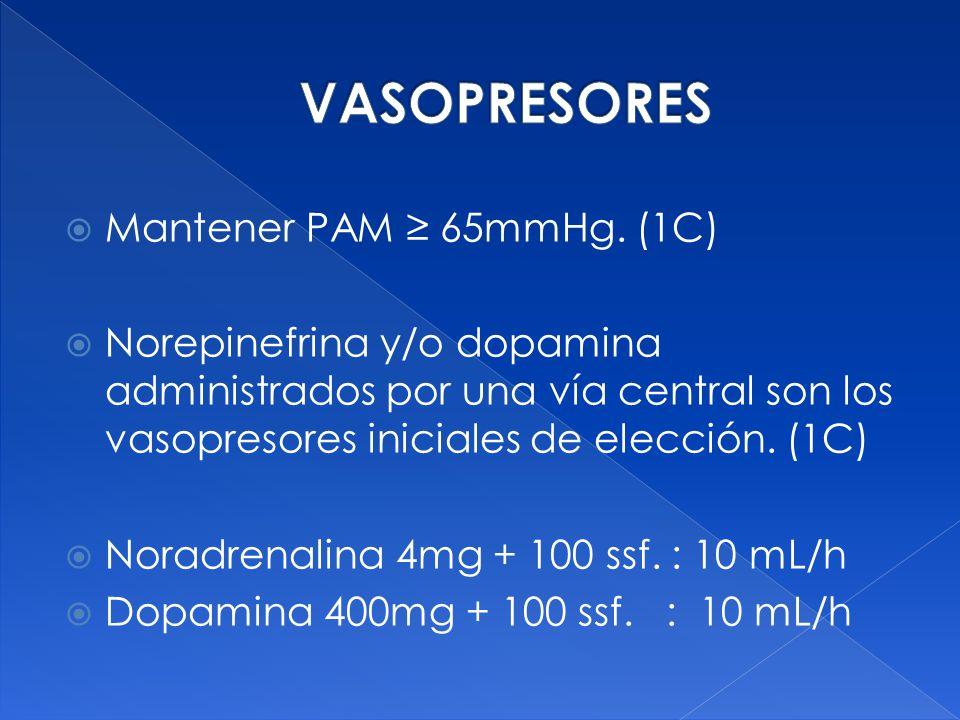 VASOPRESORES Mantener PAM ≥ 65mmHg. (1C)