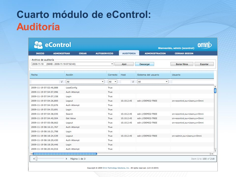 Cuarto módulo de eControl: Auditoría