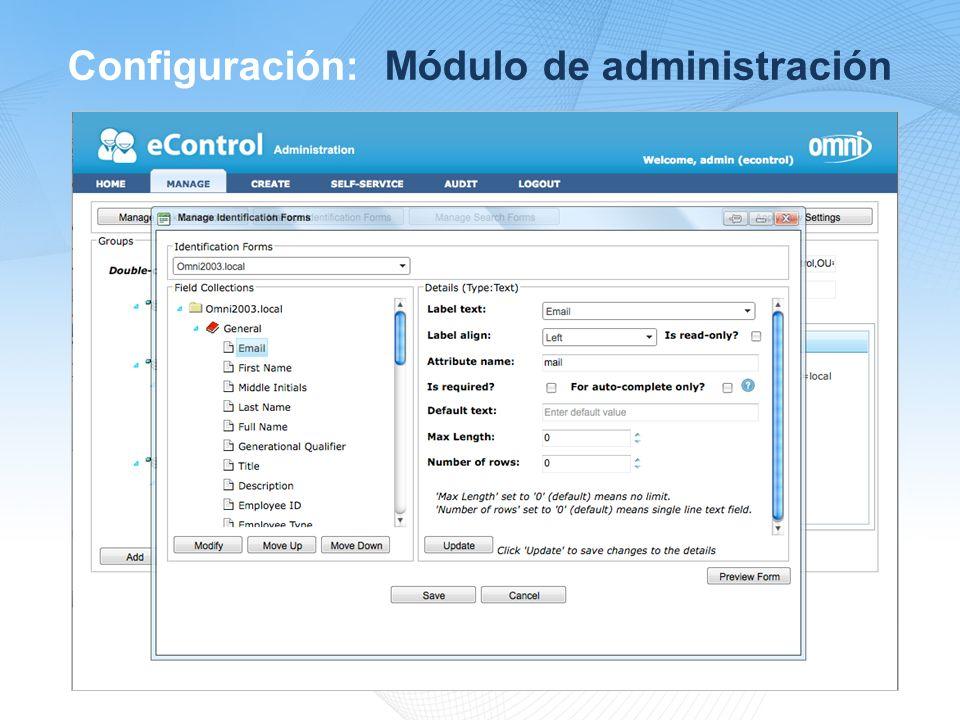 Configuración: Módulo de administración