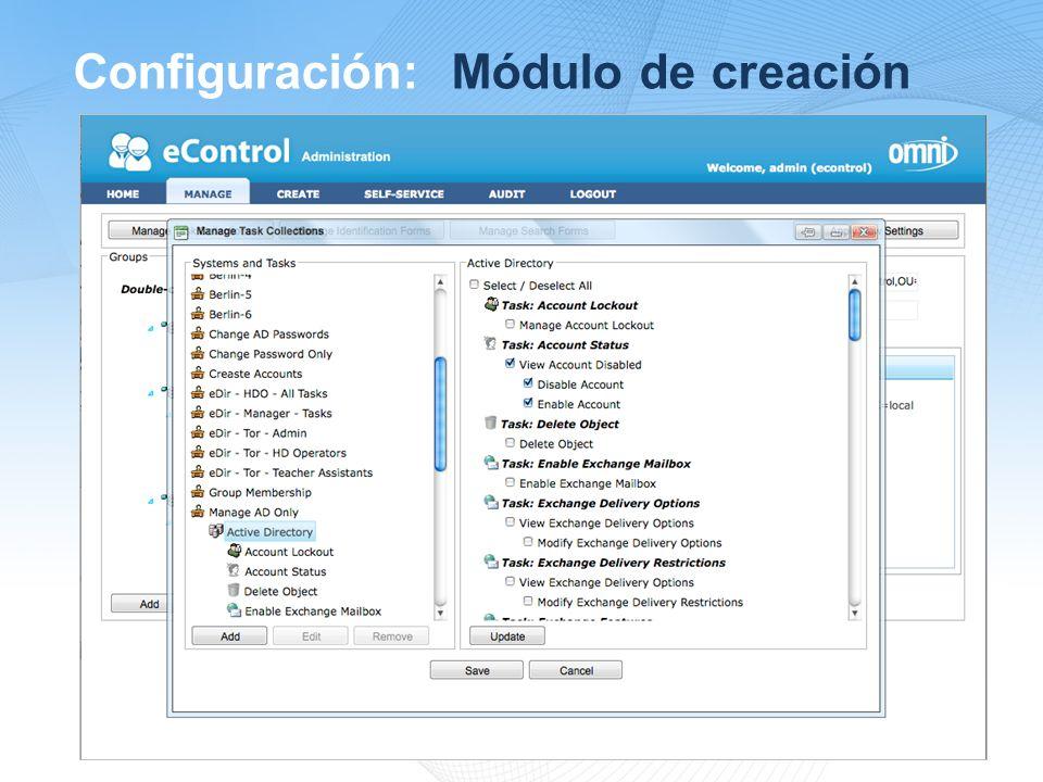 Configuración: Módulo de creación