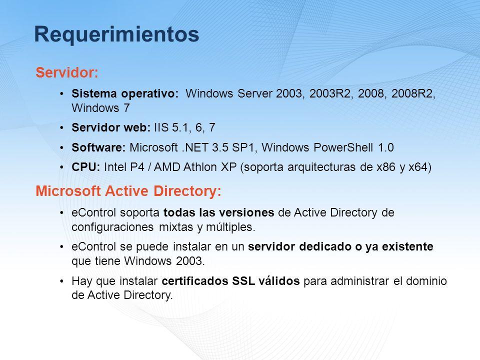 Requerimientos Servidor: Microsoft Active Directory: