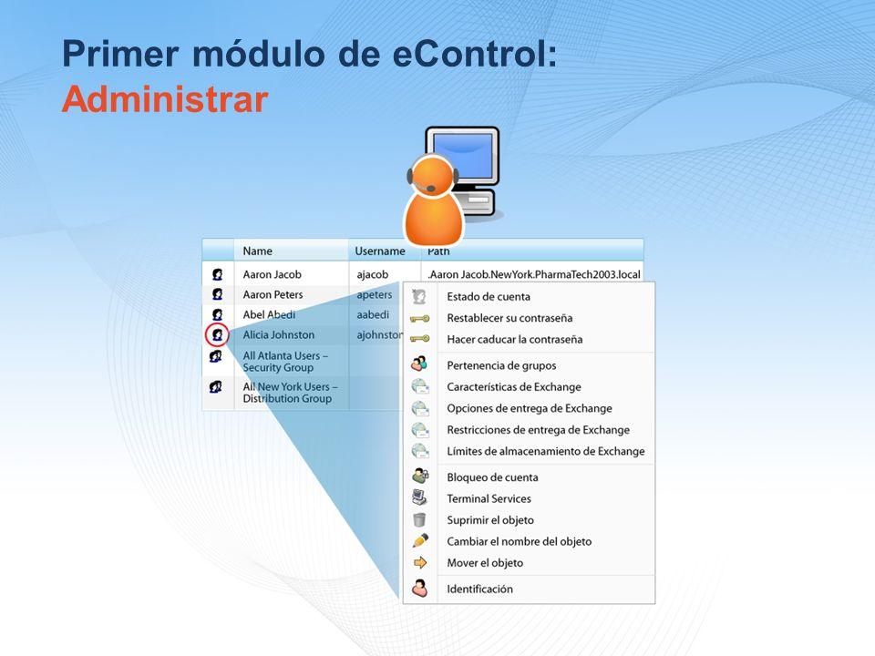 Primer módulo de eControl: Administrar