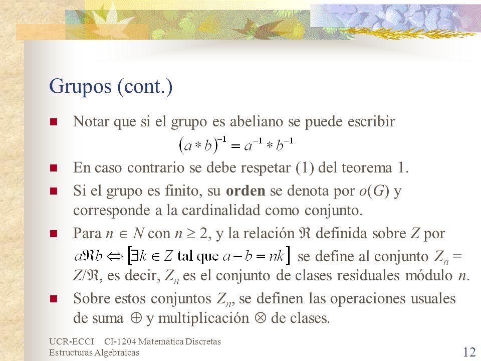 Grupos (cont.) Notar que si el grupo es abeliano se puede escribir