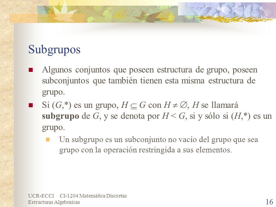 Subgrupos Algunos conjuntos que poseen estructura de grupo, poseen subconjuntos que también tienen esta misma estructura de grupo.