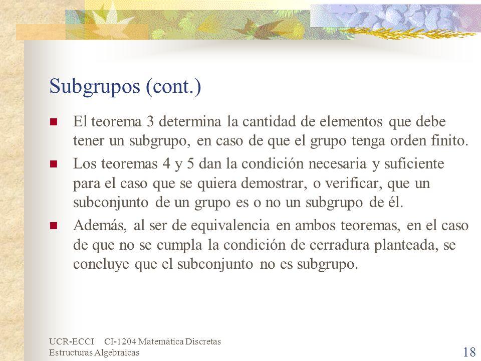 Subgrupos (cont.) El teorema 3 determina la cantidad de elementos que debe tener un subgrupo, en caso de que el grupo tenga orden finito.