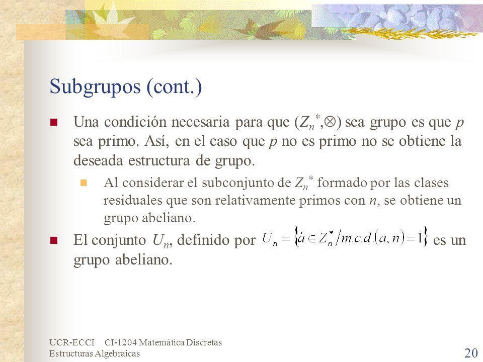 Subgrupos (cont.)