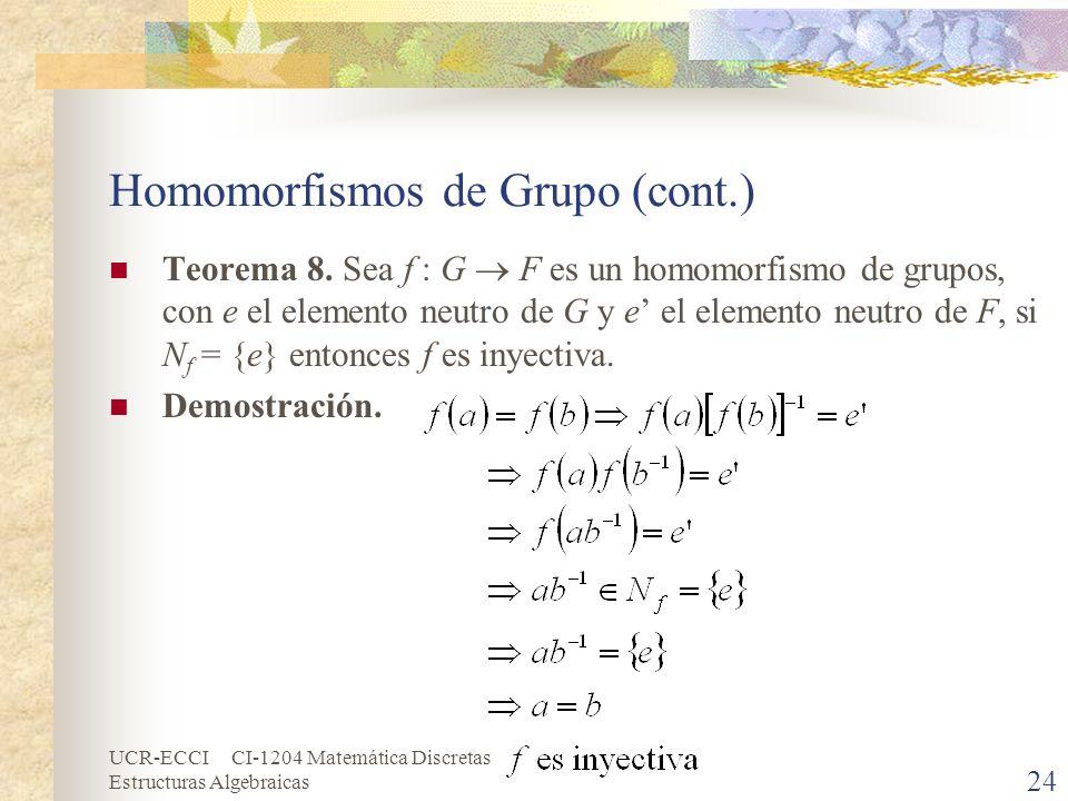 Homomorfismos de Grupo (cont.)