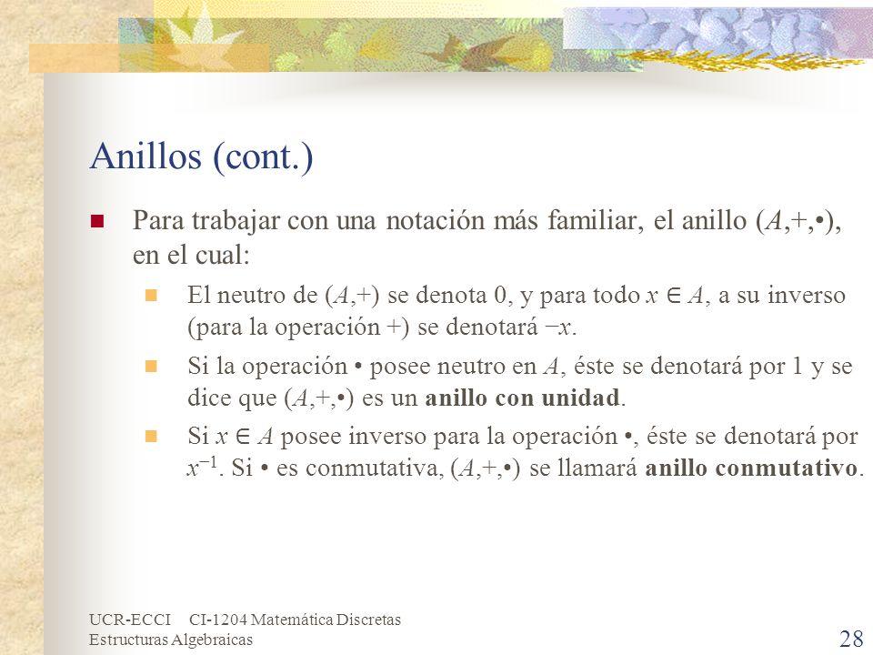 Anillos (cont.) Para trabajar con una notación más familiar, el anillo (A,+,•), en el cual: