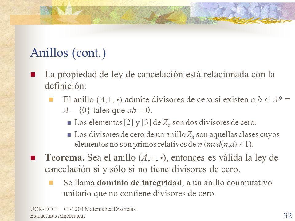 Anillos (cont.) La propiedad de ley de cancelación está relacionada con la definición: