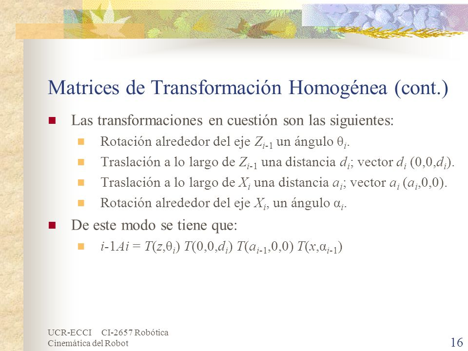 Matrices de Transformación Homogénea (cont.)