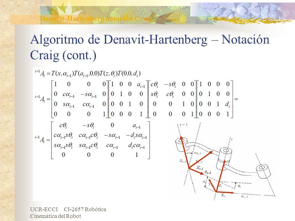 Algoritmo de Denavit-Hartenberg – Notación Craig (cont.)