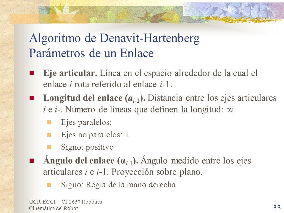 Algoritmo de Denavit-Hartenberg Parámetros de un Enlace