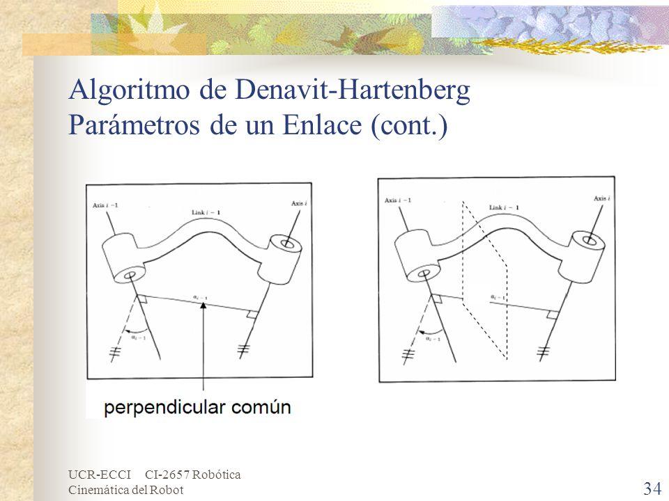 Algoritmo de Denavit-Hartenberg Parámetros de un Enlace (cont.)
