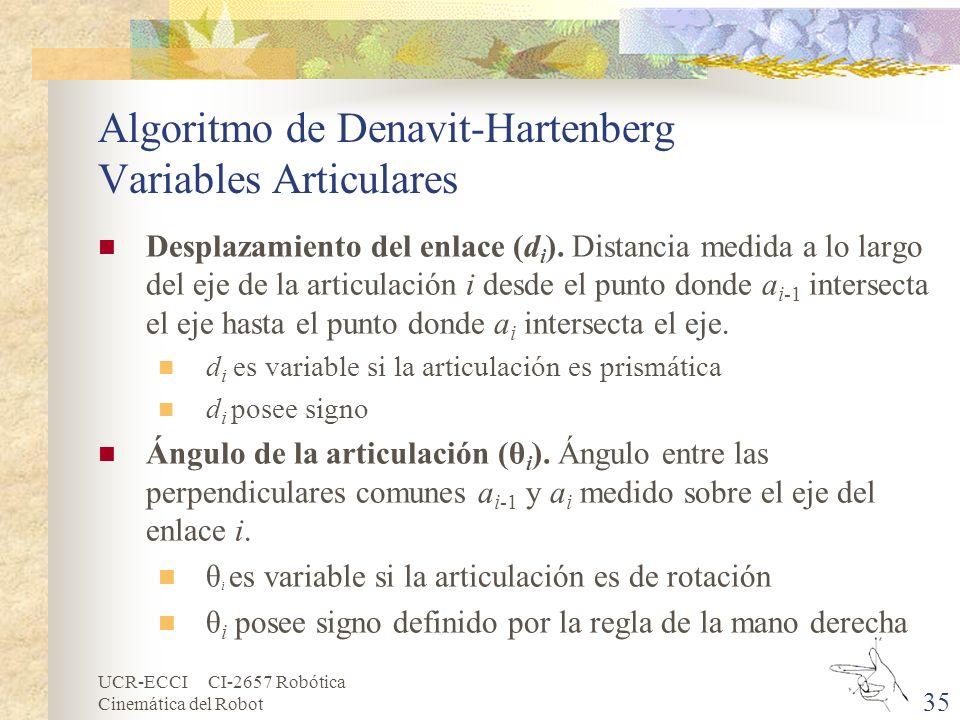 Algoritmo de Denavit-Hartenberg Variables Articulares