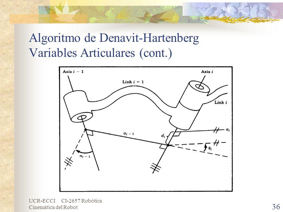 Algoritmo de Denavit-Hartenberg Variables Articulares (cont.)