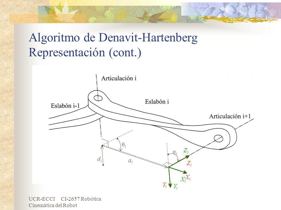 Algoritmo de Denavit-Hartenberg Representación (cont.)
