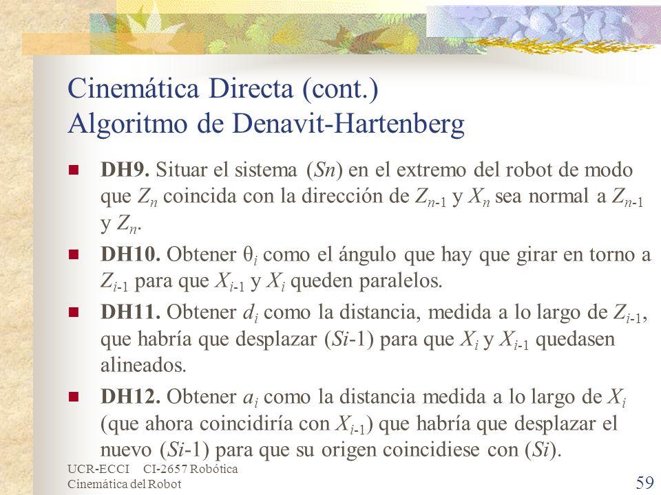 Cinemática Directa (cont.) Algoritmo de Denavit-Hartenberg