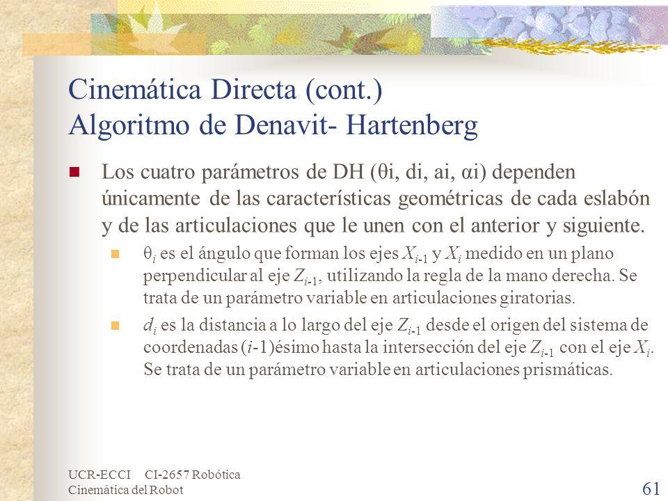 Cinemática Directa (cont.) Algoritmo de Denavit- Hartenberg