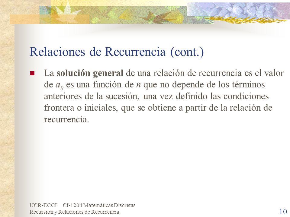 Relaciones de Recurrencia (cont.)