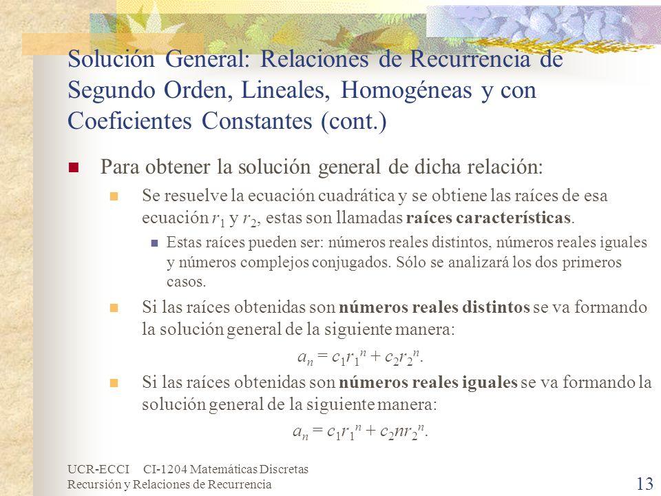 Solución General: Relaciones de Recurrencia de Segundo Orden, Lineales, Homogéneas y con Coeficientes Constantes (cont.)