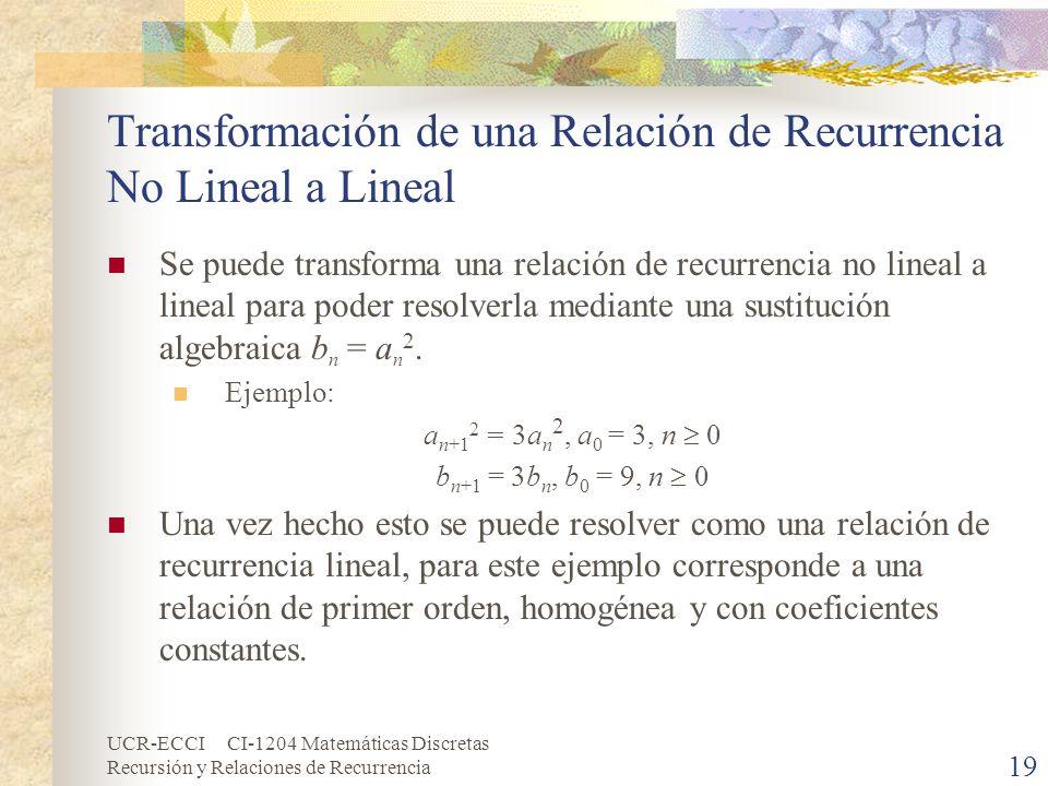 Transformación de una Relación de Recurrencia No Lineal a Lineal