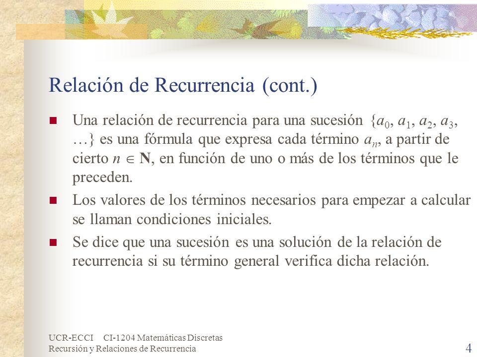 Relación de Recurrencia (cont.)
