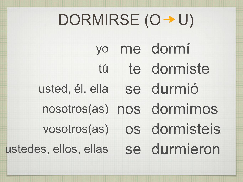 DORMIRSE (O U) me dormí te dormiste se durmió nos dormimos os