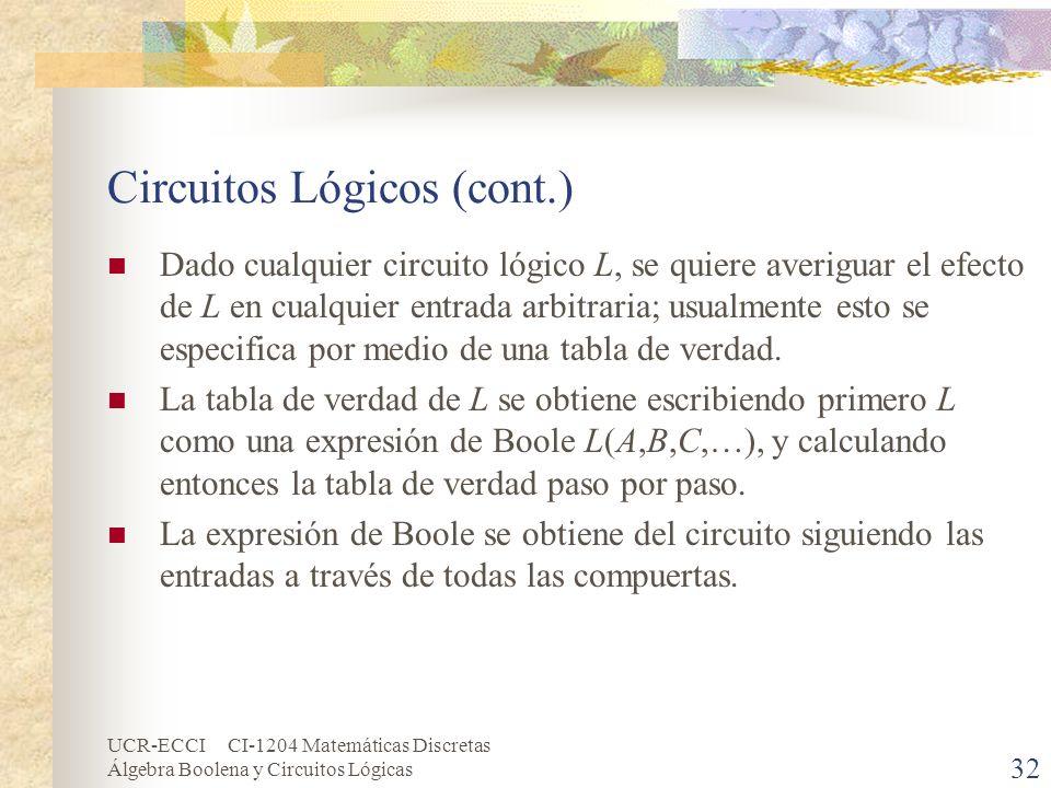 Circuitos Lógicos (cont.)