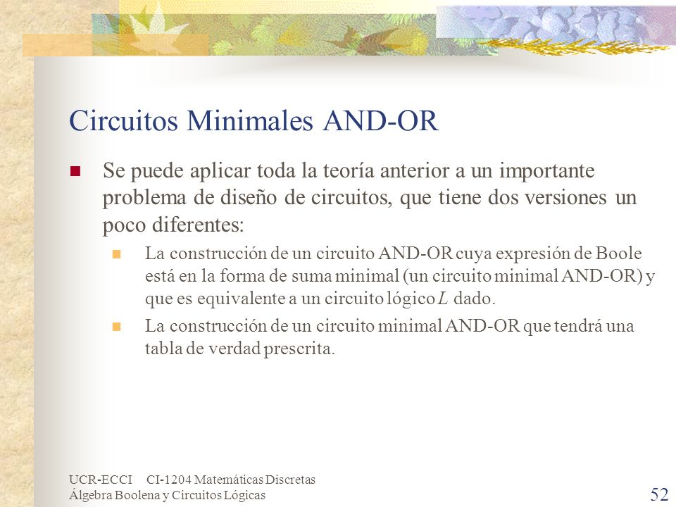 Circuitos Minimales AND-OR