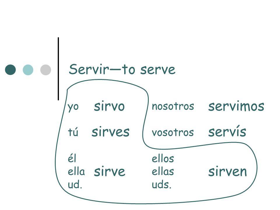 Servir—to serve sirvo servimos sirves servís sirve sirven yo nosotros