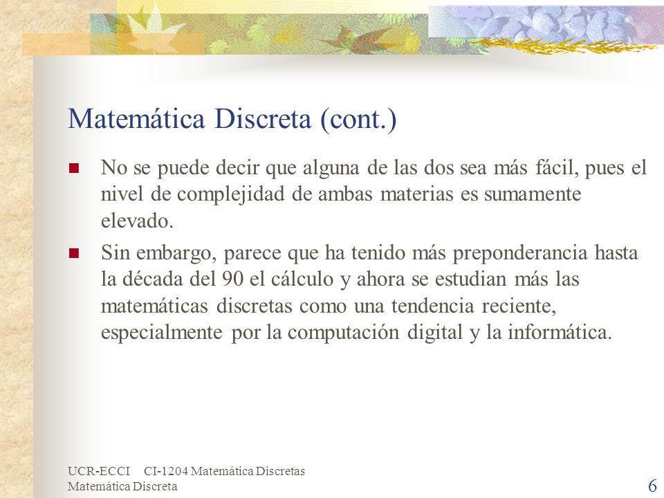Matemática Discreta (cont.)