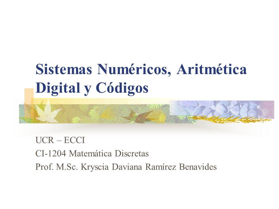 Sistemas Numéricos, Aritmética Digital y Códigos