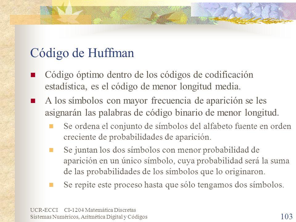 Código de Huffman Código óptimo dentro de los códigos de codificación estadística, es el código de menor longitud media.