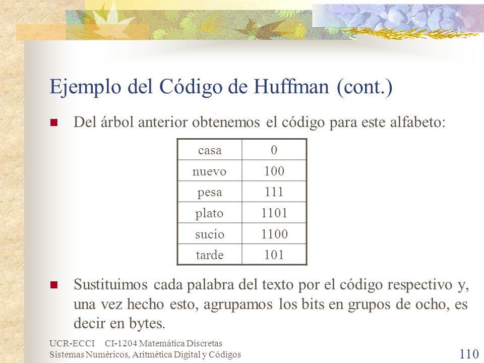 Ejemplo del Código de Huffman (cont.)