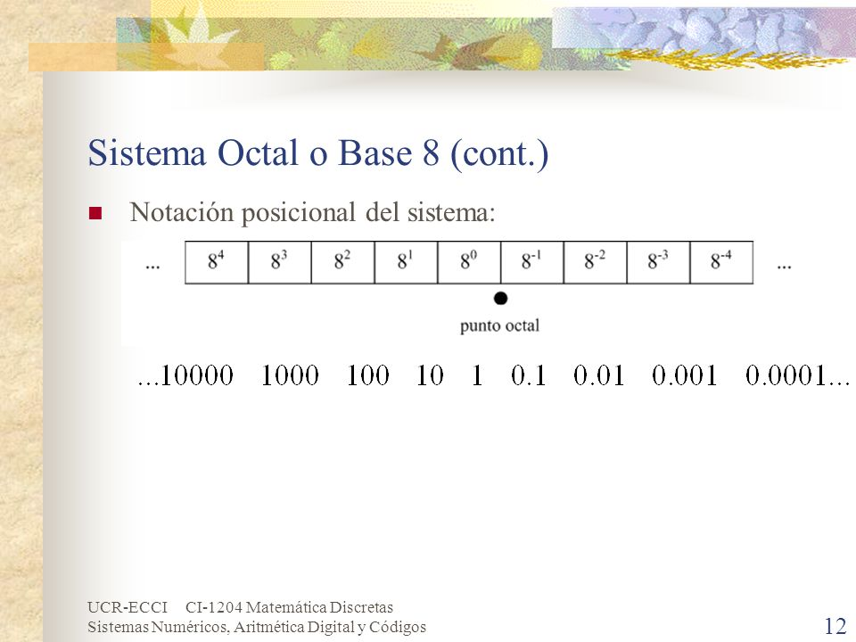 Sistema Octal o Base 8 (cont.)
