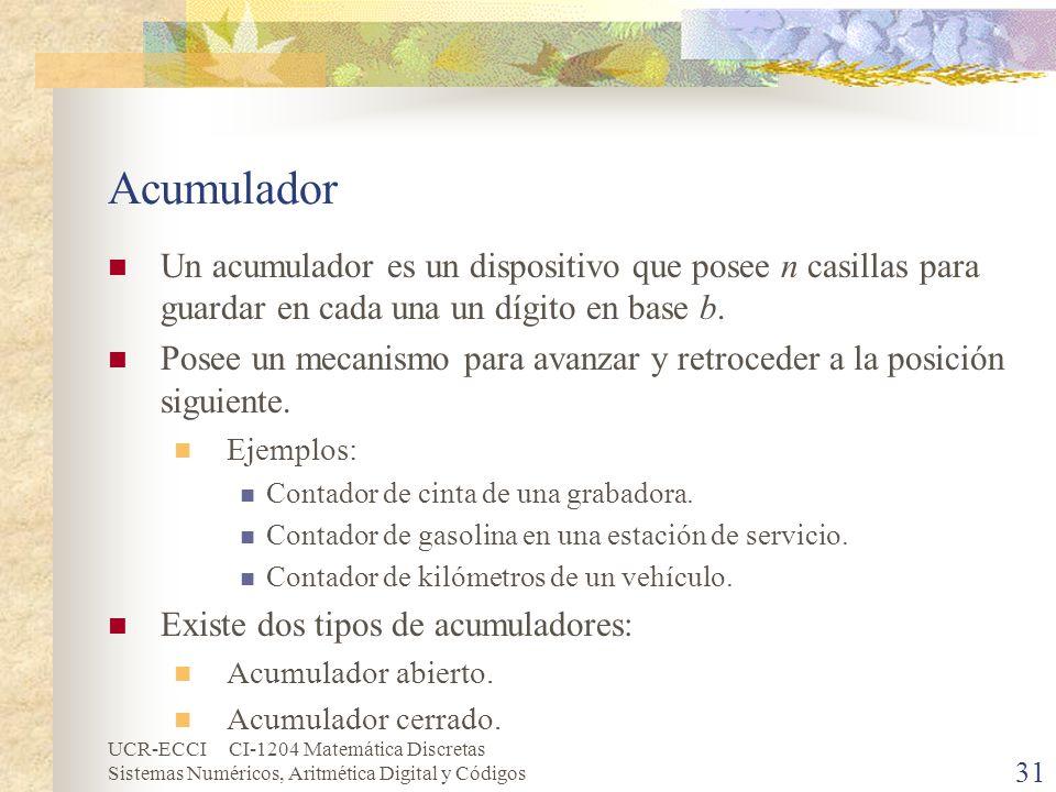 AcumuladorUn acumulador es un dispositivo que posee n casillas para guardar en cada una un dígito en base b.