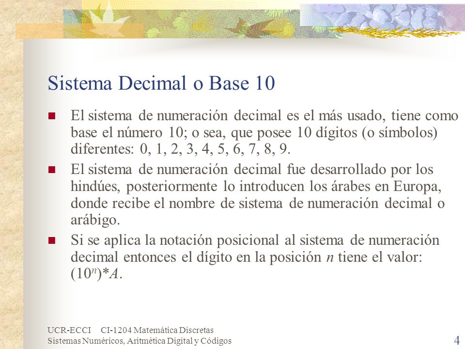 Sistema Decimal o Base 10