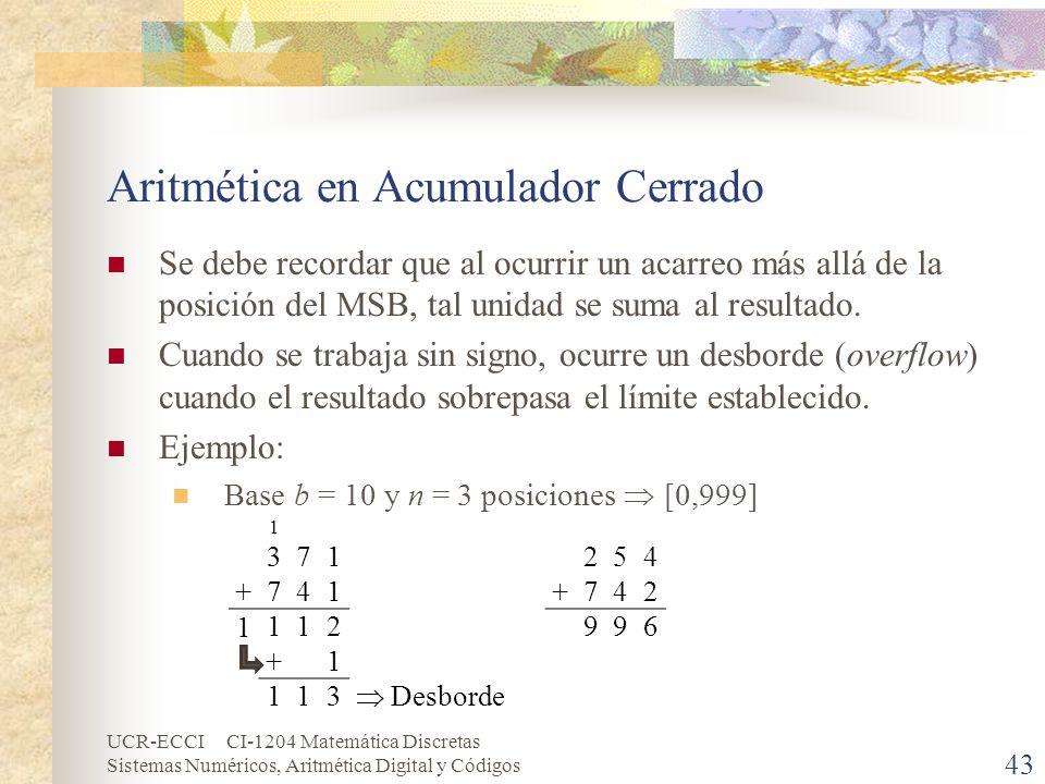 Aritmética en Acumulador Cerrado