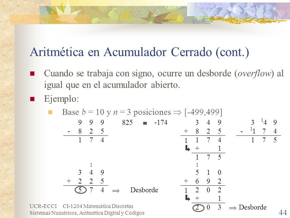 Aritmética en Acumulador Cerrado (cont.)
