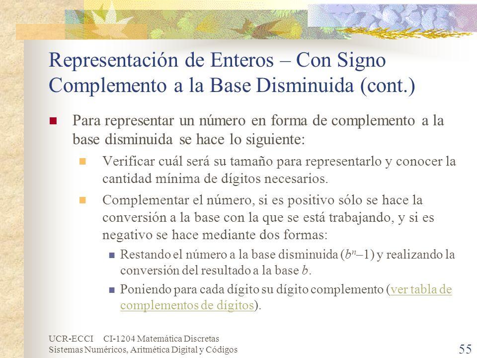 Representación de Enteros – Con Signo Complemento a la Base Disminuida (cont.)