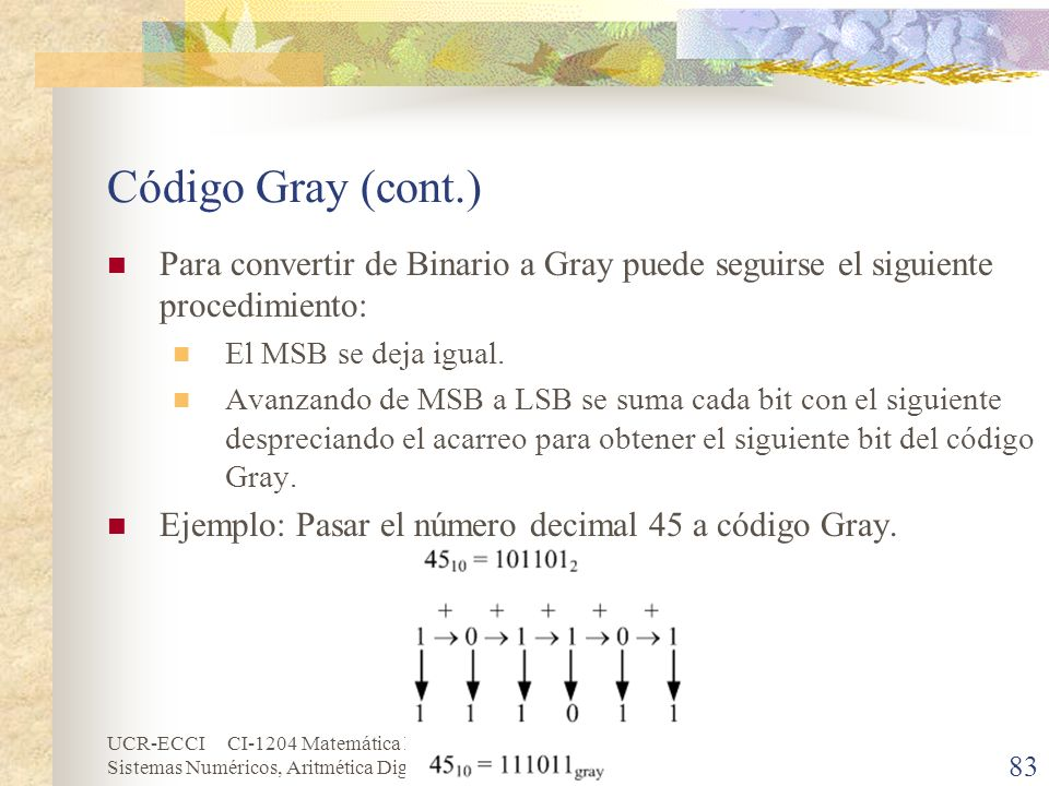Código Gray (cont.)Para convertir de Binario a Gray puede seguirse el siguiente procedimiento: El MSB se deja igual.