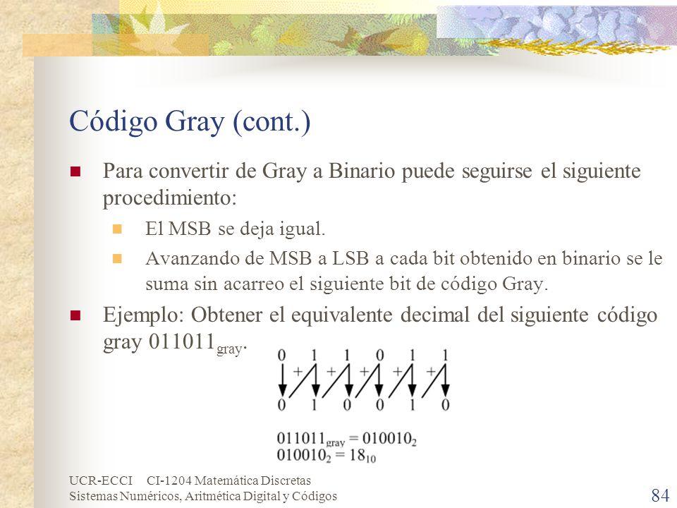 Código Gray (cont.)Para convertir de Gray a Binario puede seguirse el siguiente procedimiento: El MSB se deja igual.