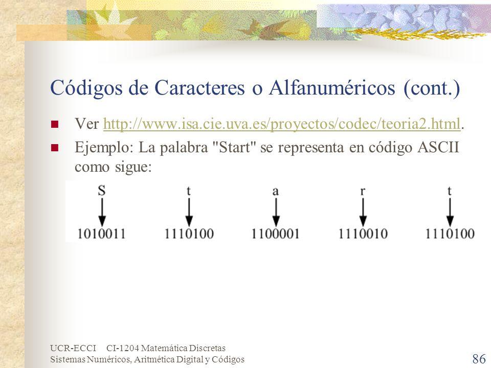 Códigos de Caracteres o Alfanuméricos (cont.)