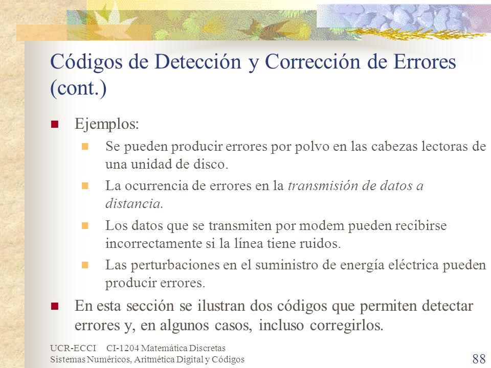Códigos de Detección y Corrección de Errores (cont.)