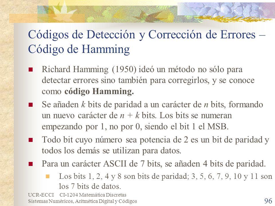 Códigos de Detección y Corrección de Errores – Código de Hamming
