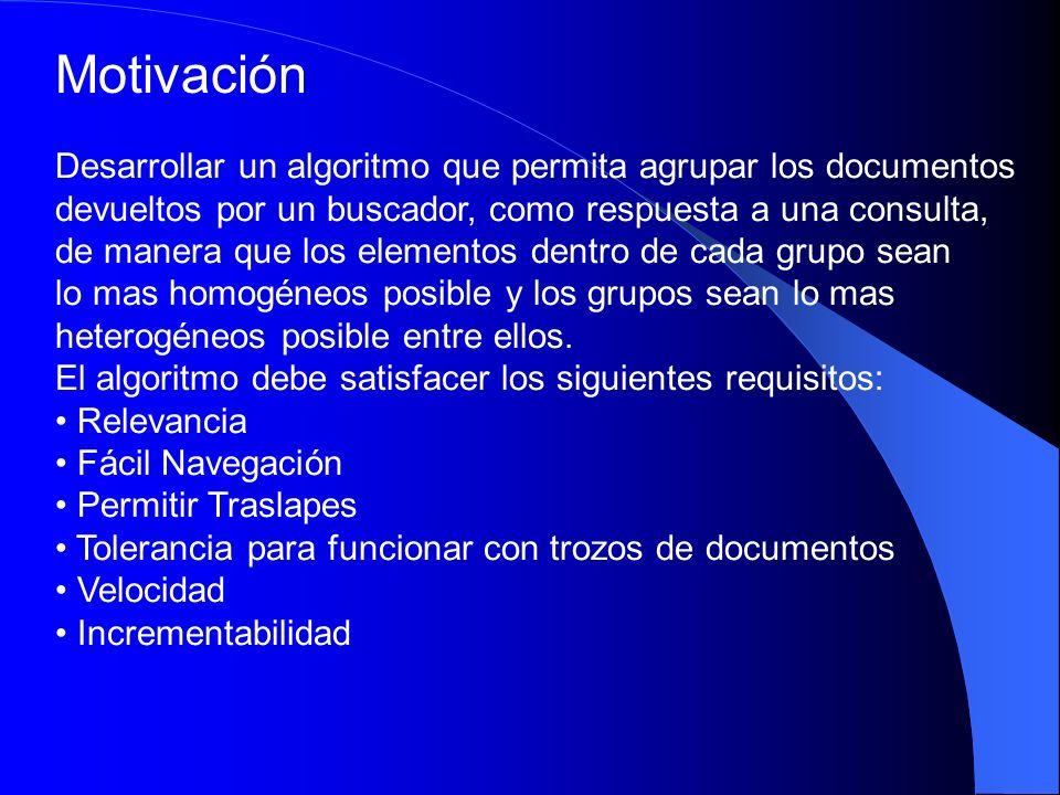 Motivación Desarrollar un algoritmo que permita agrupar los documentos