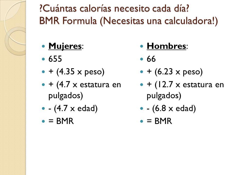 Cuántas calorías necesito cada día